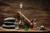 Vials with essential oils — Stock Photo