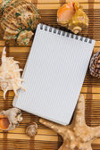 Notebook para gravar notas sobre fundo de conchas e starfis — Foto Stock