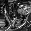 Shiny nickel plated metal mechanism the motorcycle — Foto de Stock