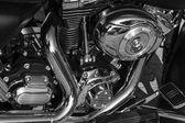 Glanzende nikkel verguld metalen mechanisme de motorfiets — Stockfoto