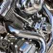 Shiny nickel plated metal mechanism the motorcycle — Stock Photo