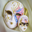 Venetian mask on the background of draping — Stock Photo
