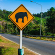 Road sign caution elephants on the track — Stock Photo
