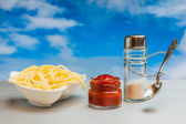 Loutky jídel pro koření vařené špagety — Stock fotografie