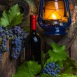 A bottle of red wine on the background of grapes — 图库照片