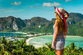 The girl at the resort in a dress on the background of the bays — Stock Photo