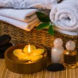 Spa with towels and candle — 图库照片