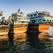 Stock Photo: Boats on Bay Creek in Dubai, UAE