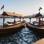 barcos na Baía riacho em dubai, Emirados Árabes Unidos — Foto Stock