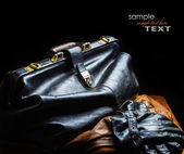 Black leather bag — Stock Photo