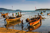 Fishing boats on the sea shore in Thailand — Stock Photo