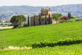 Landscape with toscana village — Stock Photo