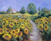 Geschilderde zonnebloemen veld — Stockfoto