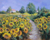 Painted sunflowers field — 图库照片