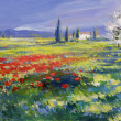 Painted poppies on summer meadow — Zdjęcie stockowe #23281274