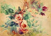 Watercolor roses painted on paper — Foto Stock