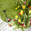 Bouquet of tulips on a garden table — Stock Photo