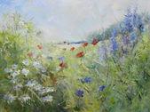 Bemalte mohnblumen auf einer sommerwiese — Stockfoto