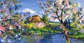Malarstwo motyw wiosny — Zdjęcie stockowe