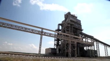Cement factory view blue sunny day — Stock Video