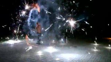 Fire dance — Stock Video