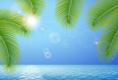 Sunny blue sky, sea and palm branches — Stock Vector
