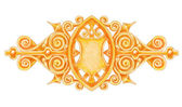 Ornated gold vintage decor with heraldic shield. — Stock Vector
