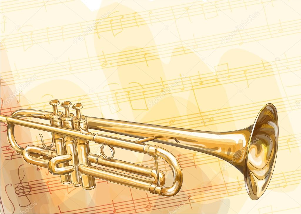 Brass Trumpet on musical background. Vector illustration.  Stock Vector #13834278