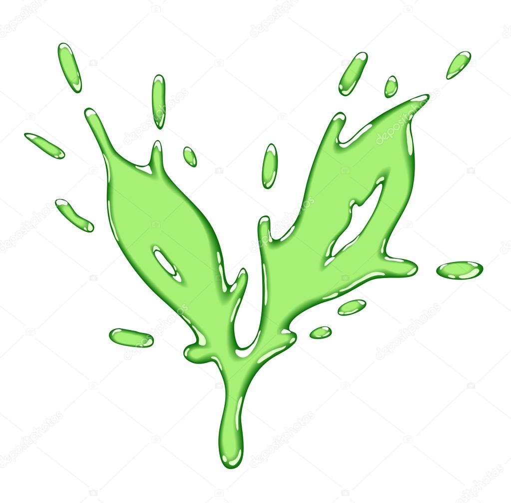 The tea leaf drawn liquid green splash. Vector illustration. — Stock Vector #13834295