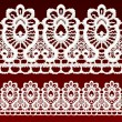 Stock Vector: White openwork lace seamless border.