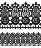 Black openwork lace seamless border. — Stock Vector