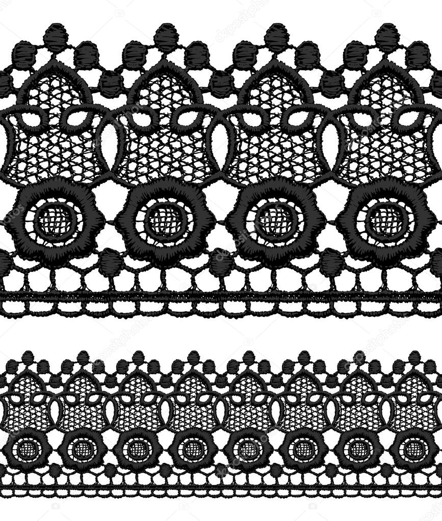 Black openwork lace seamless border. Realistic vector illustration. — Stock Vector #14801287