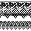 Black openwork lace seamless border. — Stock Vector