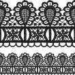 Stock Vector: Black openwork lace seamless border.