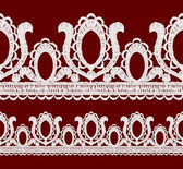 Seamless openwork lace border. — Vector de stock