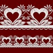 Seamless openwork lace border with hearts. — Vettoriali Stock