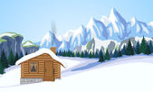 Winter mountain landscape with house. — Stock Vector