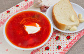 Borscht is a traditional soup of Ukrainian origin — Стоковое фото