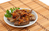 Fried veal liver with onion. — Stock Photo