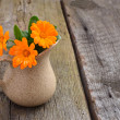 Calendula flowers on boards. — Stock fotografie