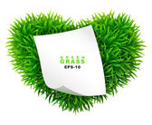 Grassy heart with a clean sheet of paper — Stock Vector