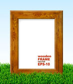 Oak frame with green grass. — Stock vektor