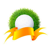 Ball for golf on green grass with gold ribbon. — Vecteur