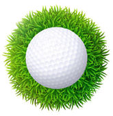 Ball for golf on green grass. Isolated on white background. — Stock Vector