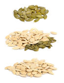 Pumpkin seeds ochishchknny and crude.  — Stock Photo