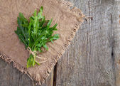 Arugula on wood and cloth. — Stock Photo