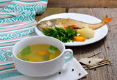 Ukha is a clear Russian soup, made from various types of fish — Stok fotoğraf