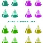 Cone diagram set. — Stock Vector #8722216