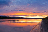 Beautiful sunset over Yukon River near Dawson City — Stock Photo