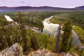 Yukon Canada taiga wilderness and McQuesten River — Stock Photo